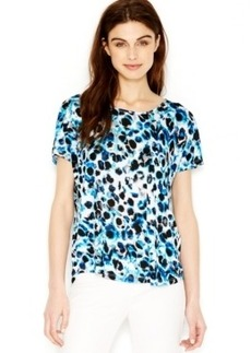 kensie Short-Sleeve Printed Top
