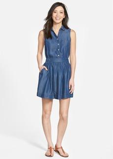 kensie Sleeveless Chambray Elastic Waist Dress