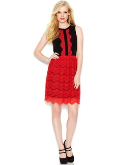 kensie Sleeveless Crew-Neck Lace-Trim Dress