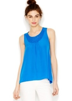 kensie Sleeveless Crocheted-Trim Top