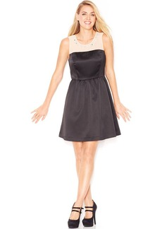 kensie Sleeveless Embellished Mixed-Media Dress (Only at Macy's)