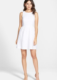 kensie Sleeveless Eyelet Cotton Fit & Flare Dress