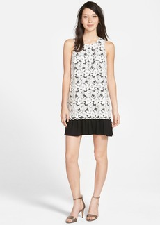 kensie Sleeveless Floral Embroidered Mesh Overlay Dress