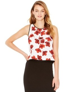 kensie Sleeveless Floral-Print Top