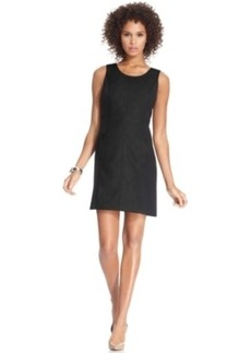kensie Sleeveless High-Neck Colorblocked Faux-Leather Shift Dress