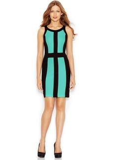 kensie Sleeveless Scoop-Neck Colorblocked Dress