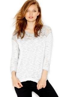 kensie Slub-Knit Lace-Yoke Sweater
