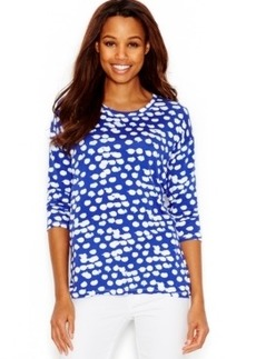 kensie Spotted Three-Quarter-Sleeve Sweatshirt