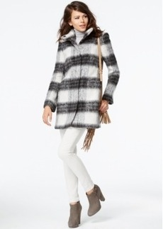 kensie Stand-Collar Plaid Coat