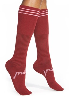 kensie Stripe Cuff Knee High Socks