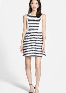 kensie Stripe Lace Fit & Flare Dress