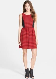 kensie Stripe Ribbed Fit & Flare Dress