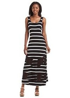 Kensie® Stripped Maxi Dress With Lace Inset