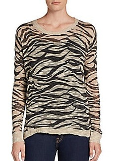 Kensie Threadbare Zebra-Stripe Pullover