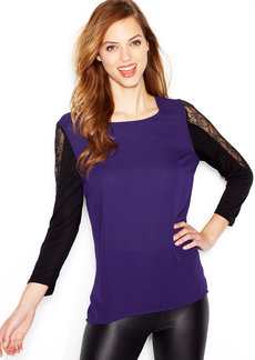 kensie Three-Quarter-Sleeve Lace-Inset Mixed-Media Top