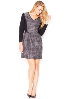kensie Three-Quarter-Sleeve Lace-Inset Paneled Dress (Only at Macy's)