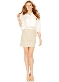 kensie Three-Quarter-Sleeve Layered-Look Dress