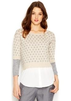 kensie Three-Quarter-Sleeve Layered-Look Knit Top