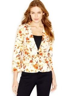 kensie Three-Quarter-Sleeve Notched-Lapel Printed Blazer