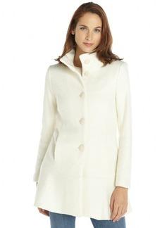 Kensie white textured wool blend ruffled bottom coat