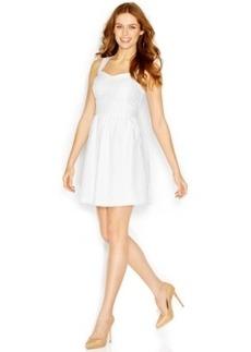 kensie Wide-Strap Sweetheart-Neck Eyelet Dress