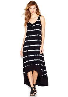 kensie Wide-Strap Tie Dye-Print Maxi Dress