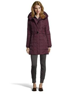 Kensie wine belted and hooded 3/4 down jacket