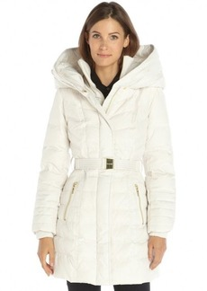 Kensie winter white quilted woven belted oversize hooded down filled coat