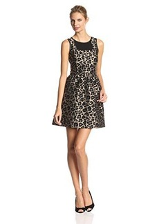 Kensie Women's Animal Print Jacquard Fit-and-Flare Dress
