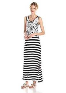 Kensie Women's Bananas and Stripes Maxi Dress