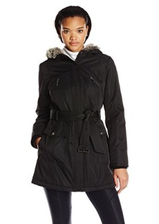 Kensie Women's Bonded Coat with Quilt Lining and Faux-Fur Trim