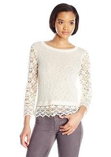 Kensie Women's Cotton Blend Lace Sweater