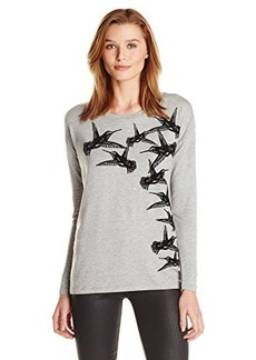 Kensie Women's Drapey French Terry Bird Sweatshirt