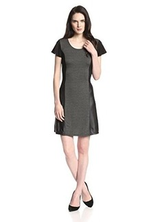 Kensie Women's Drapey French-Terry Faux Leather-Inset Dress
