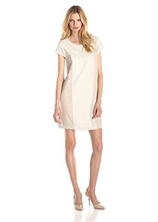 Kensie Women's Drapey French Terry Short Sleeve Shift Dress