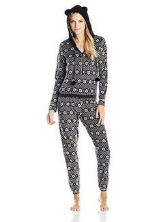 Kensie Women's Fair Isla Pajama Jumpsuit with Eared Hood