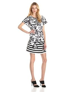 Kensie Women's Flowers and Stripes Dress