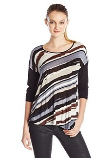 Kensie Women's Hazy and Clear Stripes Top