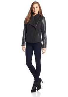 Kensie Women's Jacket With Metallic Snake Sleeves