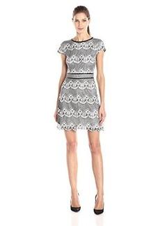 Kensie Women's Lattice Scalloped Lace Dress