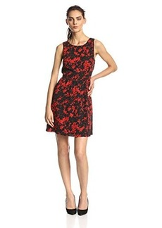 Kensie Women's Layered Bouquet Fit-And-Flare Dress