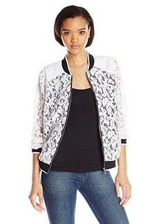 Kensie Women's Luxurious Lace Baseball Jacket