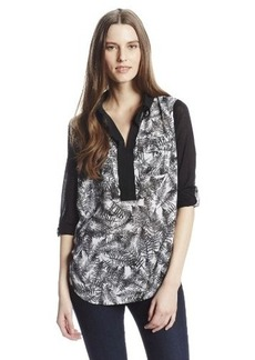 Kensie Women's Overlapped Ferns Top
