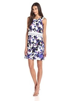 Kensie Women's Pretty Painting Floral Print Overlay Dress with Lace Detail