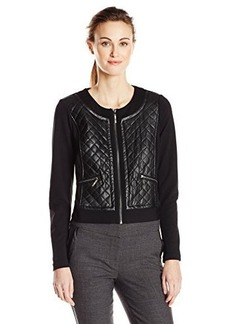 Kensie Women's Quilted Faux Leather-Front Jacket