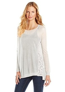 Kensie Women's Sheer Sweater with Lace