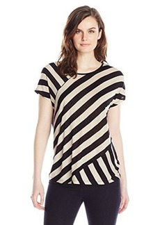 Kensie Women's Sheer Viscose Striped Tee