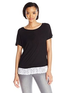 Kensie Women's Sheer Viscose Tee with Lace Detail