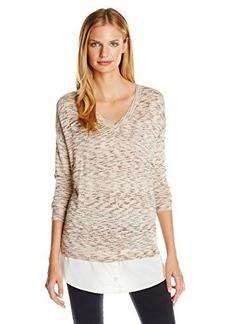 Kensie Women's Shiny Space Dye Twofer Sweater