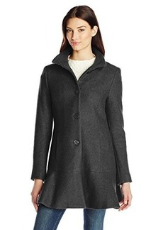 Kensie Women's Single-Breasted Wool-Blend Coat with Skirted Hem